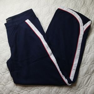 Navy Wide Leg Pant w/ White and Red Stripe Legs